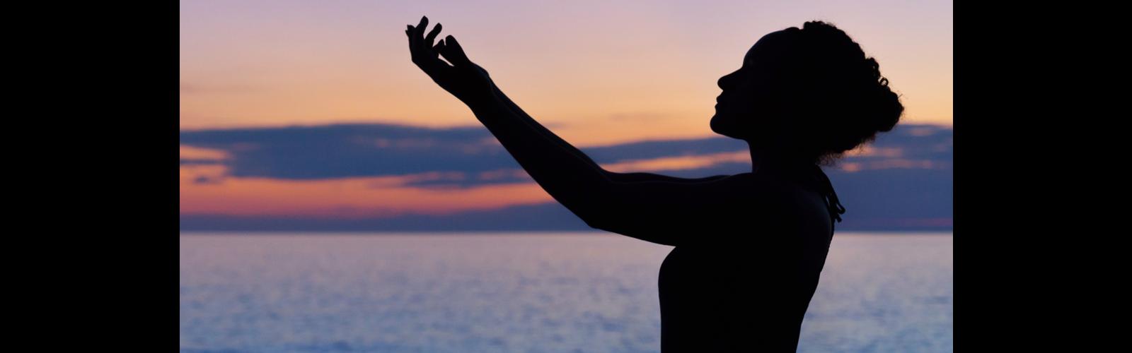 Woman Worshipping at Sunset - Ocean - Spirit - Spiritual