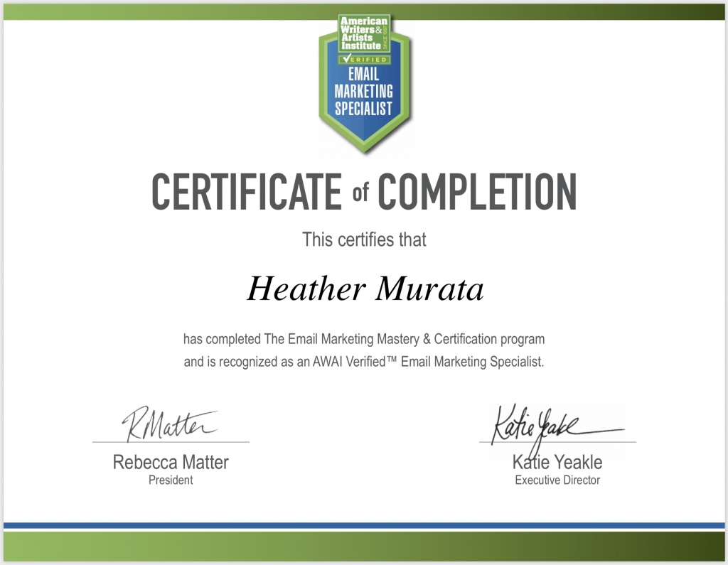 Email Marketing Certificate of Completion - Heather Murata