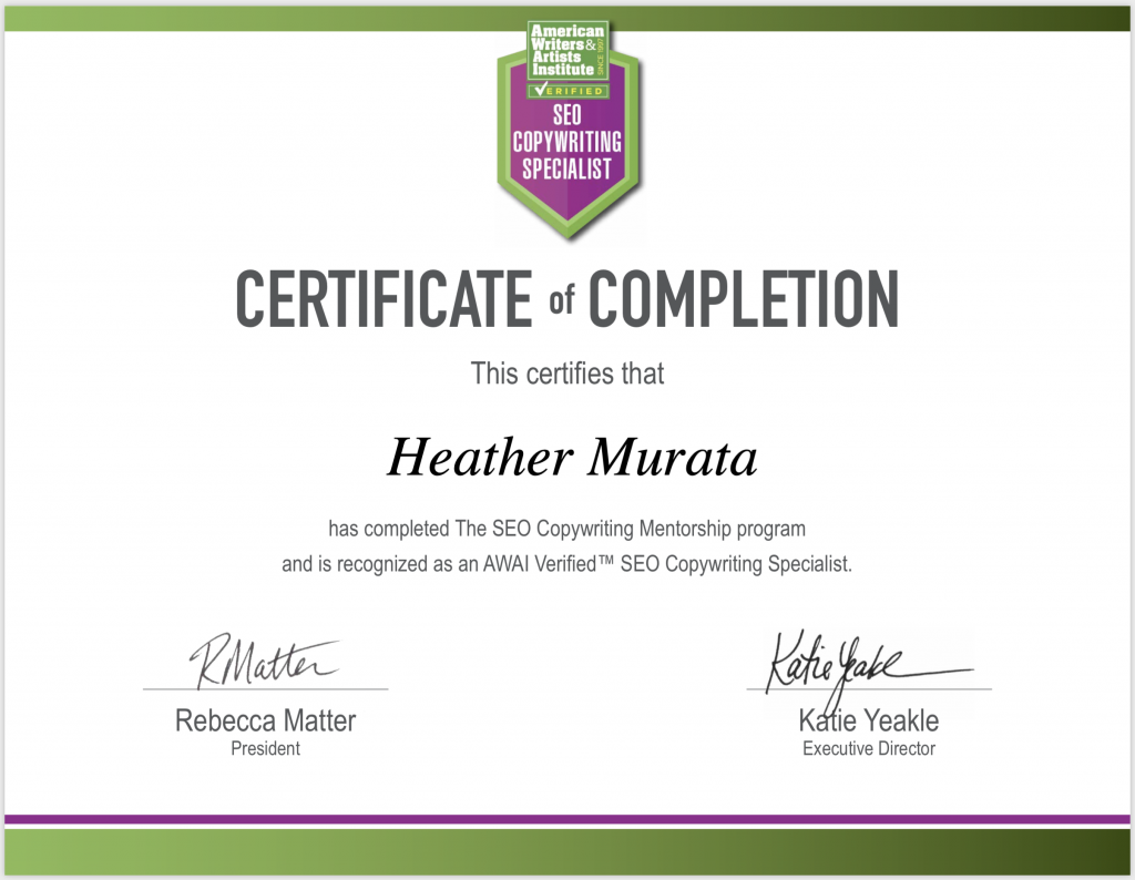 SEO Copywriting Specialist Certificate of Completion - Heather Murata