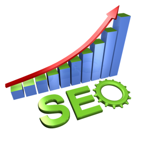SEO search engine optimization graphic - red arrow moving up blue and green bar graph with SEO - the O is a gear - marketing strategy that keeps on giving -