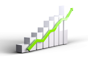 Increased ROI, profit increase graphic - green arrow going up a rising bar graph