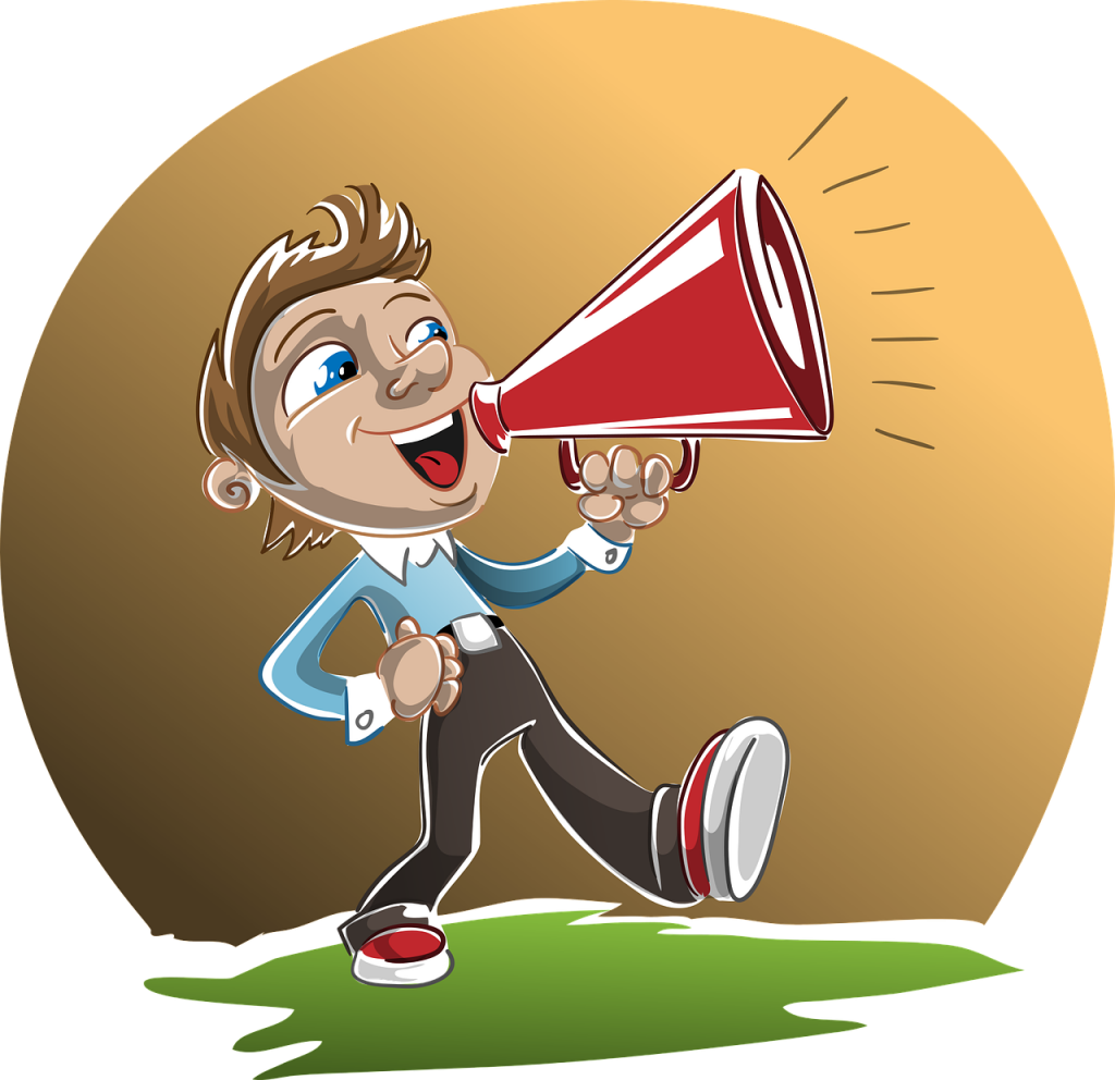 Graphic - Man with megaphone - Announcing the contest: Enter to Win a Free Copywriting or Copyediting Project!