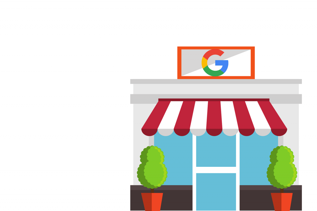 """Google My Business Graphic - Shop front with red and white striped awning and the Google """"G"""" signage on top."""
