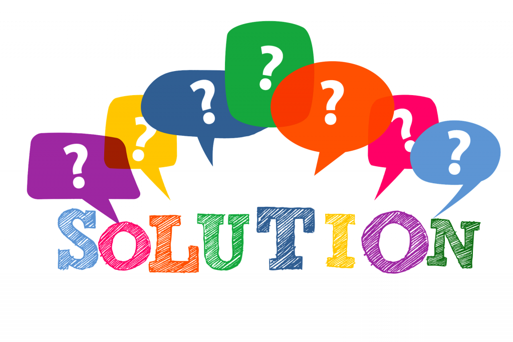 Problem Solution Graphic with colorful question marks
